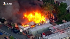 Fire Rages in Chula Vista, Destroys Mobile Home