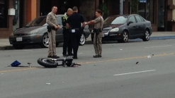 Motorcycle in CHP Pursuit Crashes into Parked Car