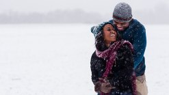 Couple Takes Engagement Photos During Blizzard