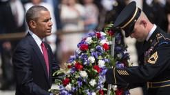 Obama Lays Wreath at Arlington National Cemetery