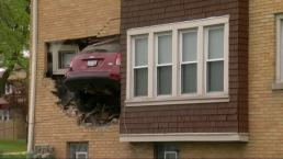 Airborne Jeep Slams Into Occupied Home