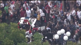 Aerials of Crowd in Clash With Police