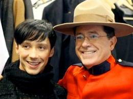 Johnny Weir Meets Stephen Colbert