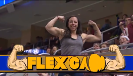 Woman Out-Flexes Man on Professional Football Cam