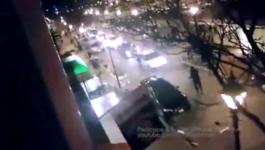 Driver Fleeing Bar Assault Rams Cars, Runs Over Woman