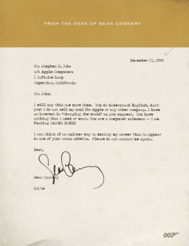 Connery's Fictional Letter to Jobs Goes Viral