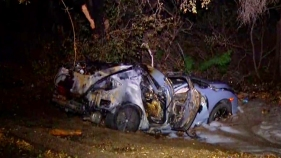 Driver Pulled from Fiery Crash on Bear Valley Parkway