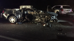 SR-67 Lanes Closed After Fiery 3 Car Crash Near Poway