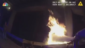 Dramatic Footage Shows Police Rescue 2 From Burning Car