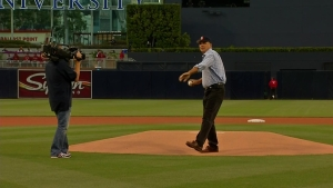 Laz Throws First Pitch for Padres: Raw Video