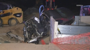 4 Injured After Car Crashes Into Construction Site