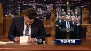 'Tonight': Fallon Thanks Trumpcare, Plastic Knives