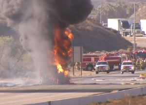 Gas Tanker Erupts in Flames, Forcing SoCal Highway Closure