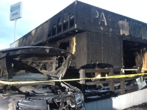Fire Rips Through Car Lot