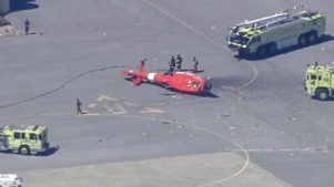 Coast Guard Chopper Crash Lands at San Francisco International Airport