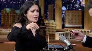 'Tonight Show': Ramen Challenge With Salma Hayek