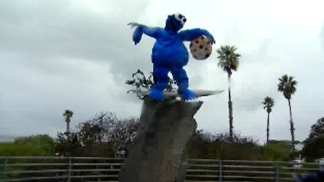 Cardiff Kook Dresses as Cookie Monster