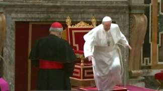 Pope Stumbles in Front of Cardinals