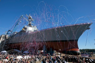 Warship Honoring Marine Christened at Maine Shipyard