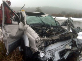 Drivers Survive Car's 200' Plunge