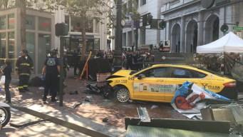 3 Injured in SF as Taxicab Crashes Onto Sidewalk
