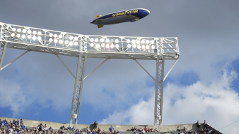 Goodyear Blimp Flying Into College Football Hall of Fame