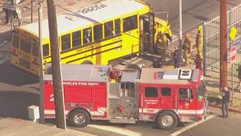 Railroad Crossing Arm Skewers School Bus in South LA