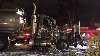 Fire Rips Through Tanker Truck's Cab