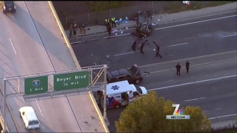 Car Rolls Off South Bay Freeway