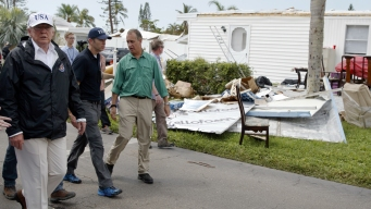 Trump Dispenses Hoagies, Handshakes in Hurricane Zone