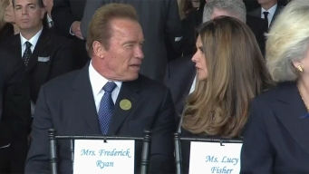 Arnold & Maria Seen Together at Reagan Funeral