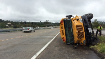 School Bus Hydroplanes, Crashes in La Mesa