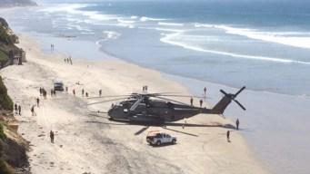Marine Chopper Makes Emergency Beach Landing