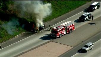 Raw Video of Car Fully Engulfed in Flames Near I-15