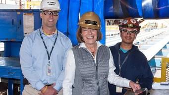Congresswoman Cuts First Steel for Tanker