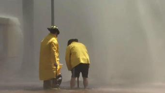 Fire Hydrant Floods Street, Homes in Mission Valley