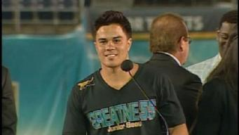 Tyler Seau Speaks at Dad's Ceremony