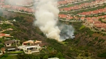 Small Fire Burns in Canyon Near Mount Soledad