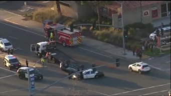 Car Flips on Hood in Multi-Vehicle Crash in Mira Mesa