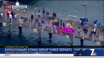 Families Say Goodbye as Three Navy Ships Depart