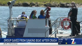 Group Saved From Sinking Boat After Crash