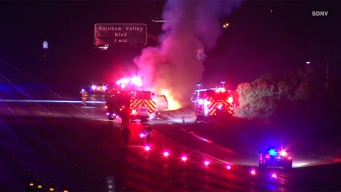 Fire Engulfs Car on I-15
