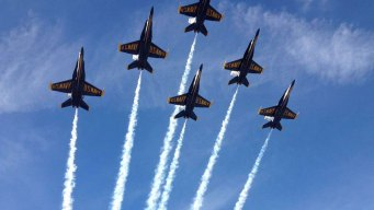 Blue Angels Fly Over Downtown SD Honors Vice Admiral