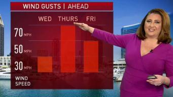 Wind Gusts Expected to Increase Thursday