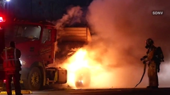 VIDEO: Big Rig Catches Fire on I-15