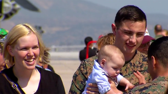 Marine Returning From Deployment Meets Son for First Time