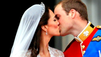 William and Kate Seal Marriage with a Kiss