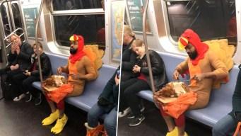 Prankster in Turkey Costume Carves, Gobbles Bird on Subway