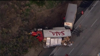 Box Truck Overturns on I-5 North of Oceanside