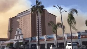 Tijuana Fire Burning in Santa Ana Conditions Moving Toward Rosarito